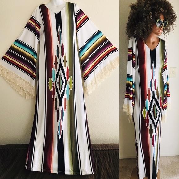 Dresses & Skirts - Fabulous New SERAPE BLANKET Print Maxi DRESS M / L